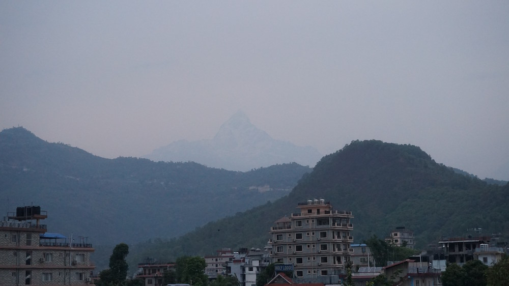 Machapuchare from Hotel Window, Keliatan ngga samar samar ?