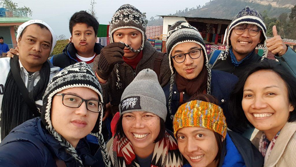 at Sarangkot with Mba Ica and Family